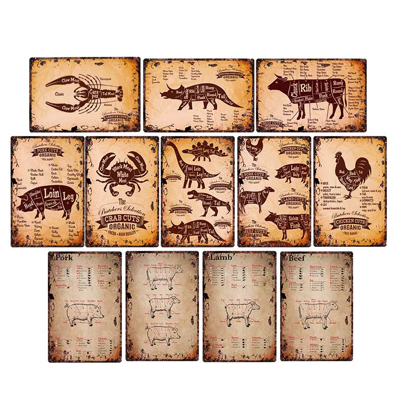 Butcher Shop Tin Signs Retro Farmhouse Decor Kitchen Plaque Beef Poster Cafe Wall Decoration Home Decor 20x30cm image