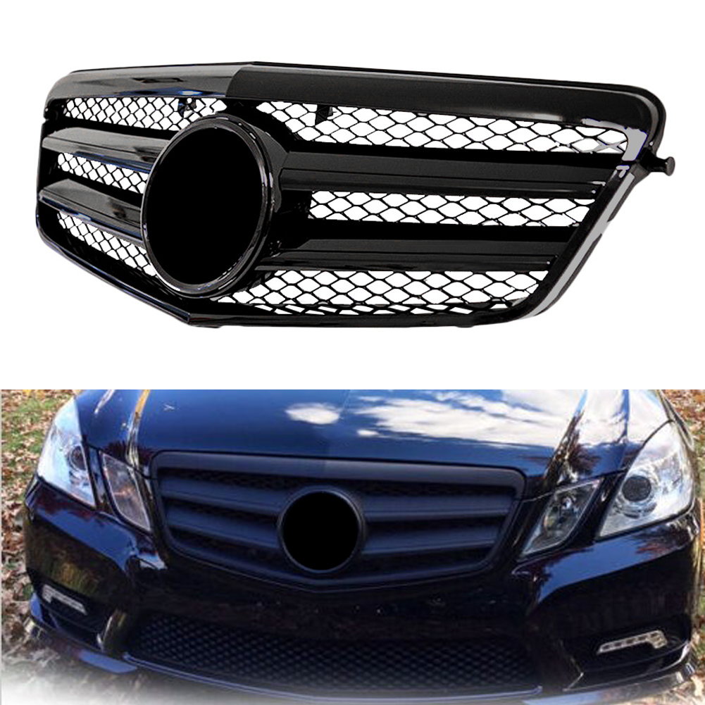 AMG Car Front <font><b>Grille</b></font> For 2009 2010 <font><b>Mercedes</b></font> Benz E-Class <font><b>W212</b></font> E250 E300 E350 E500 E550 E63 Sedan Shiny Gloss Black w/ Emblem image