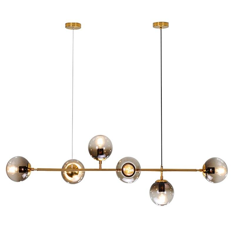 Nordic Wrought Iron Chandelier Light Luxury Restaurant Strip Lamp Modern Bar Table Dining Table Hanging Line Magic Bean Lamp