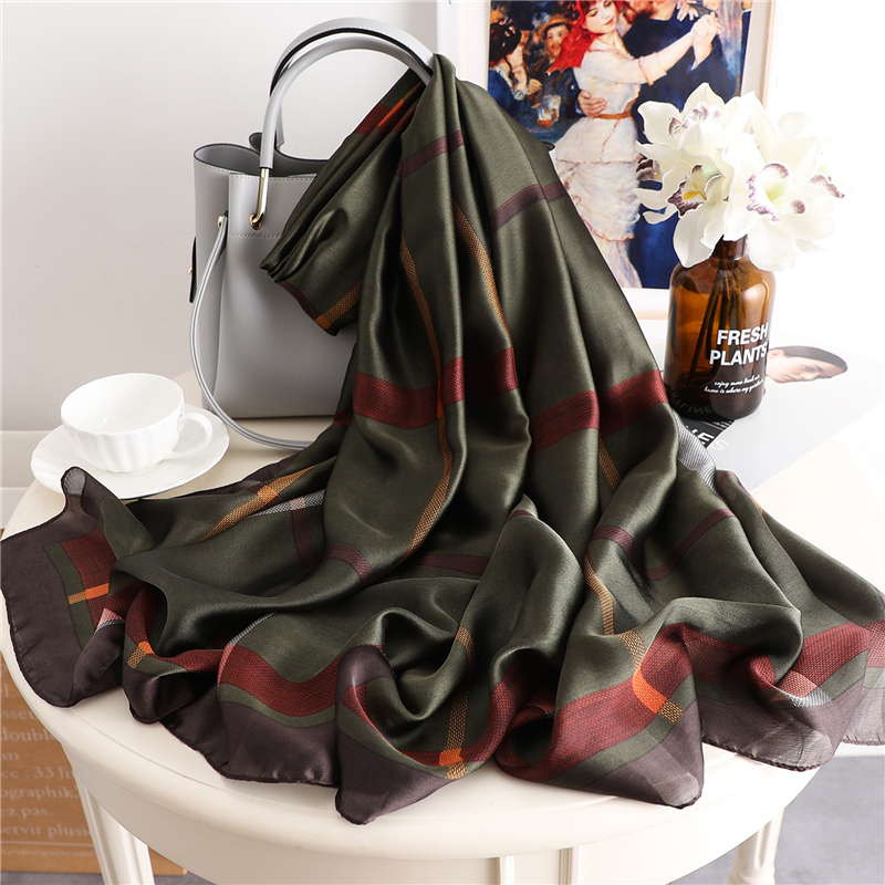 Foulard Female Scarf Women Silk Hair Hijab Floral Print Lady's Shawls And Wraps Scarfs Pashmina Beach Scarves 2020 New