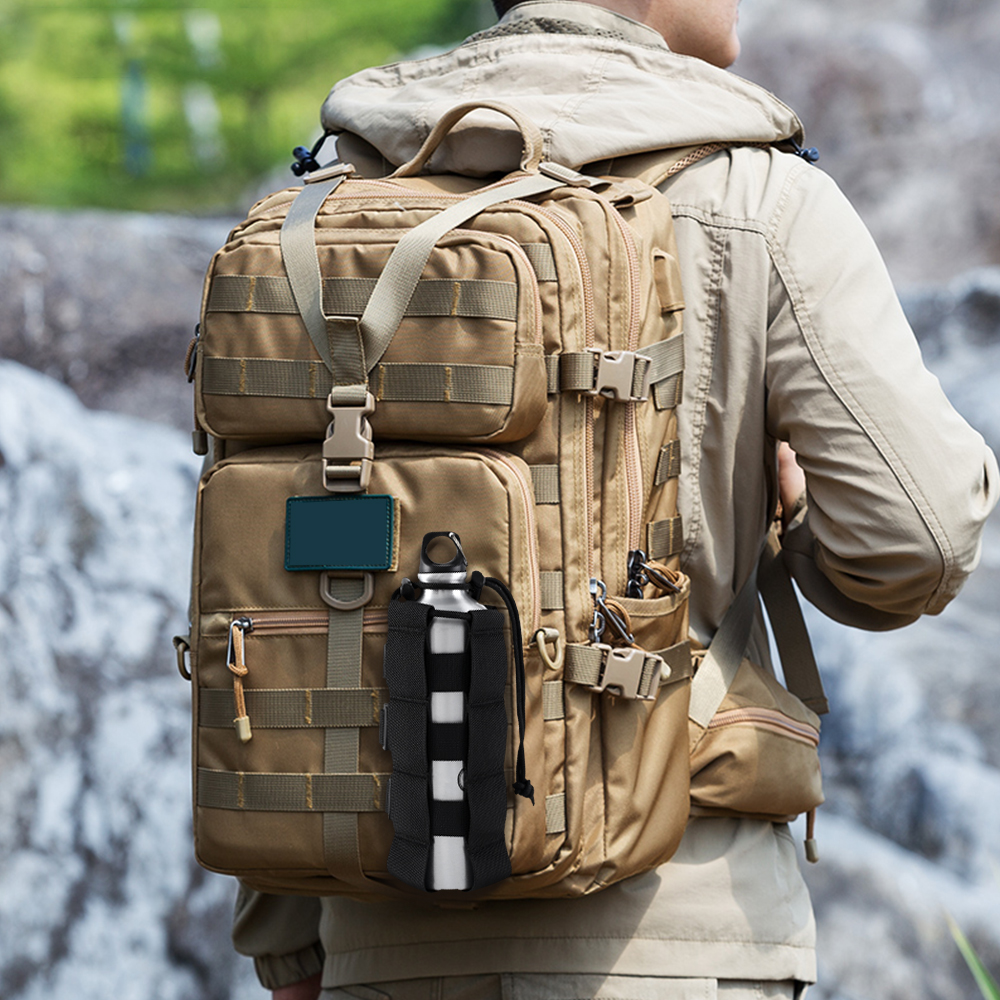 Outdoor Tactical Molle Water Bottle Bag Military Hiking Belt Holder Kettle Pouch