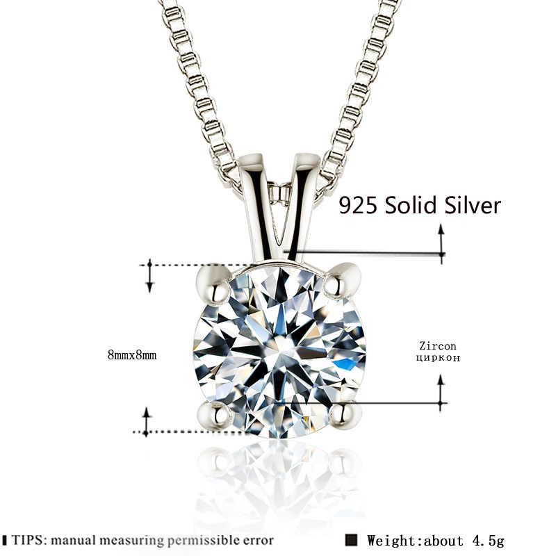 2ct Lab Berlian Solitaire Liontin Kalung 925 Sterling Silver Kalung Pernyataan Kalung Wanita Perak 925 Perhiasan dengan Kotak Rantai