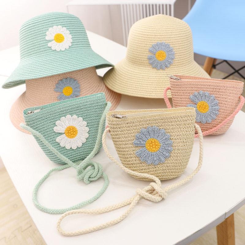 3-7 Years Girl 2PCS Hat Bag Set Flower Straw Hat Bag Set Spring Summer Beach Camping Sunhat Foldable Adjustable Cute Gilr Cap
