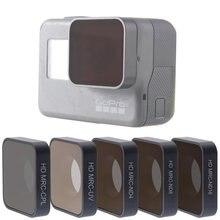 Para go pro hero 5 6 7 lente acessórios uv cpl nd 4 8 16 filtros de densidade neutra conjunto para gopro hero5/6/7 preto câmera ação
