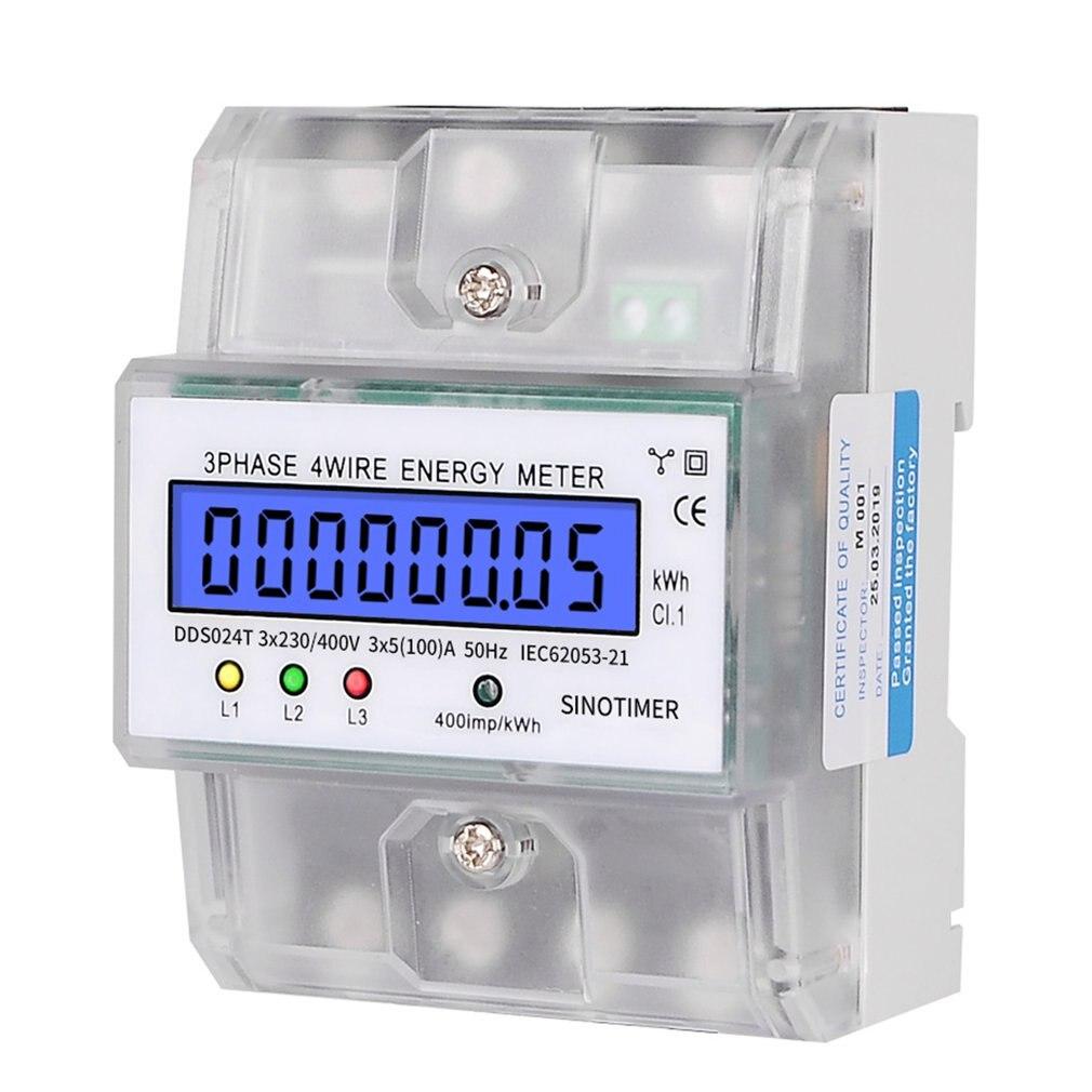 SINOTIMER Din Rail 380V 3 phases 4P 4 fils électronique Watt puissance compteur d'énergie LCD rétro-éclairage affichage avec couvercle Transparent