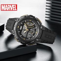 Disney Marvel Energy Series, водонепроницаемые женские спортивные часы, детские часы, полный календарь, 10 бар, цифровой двойной дисплей