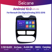 Seicane 10.1 inch Android 10. 0 2+32G Car Radio GPS Navigation Unit Player for 2012 2016 Renault Clio Digital/Analog 2din QLED