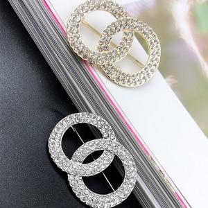 Full Rhinestone Double Circle Brooch Top Quality Fashion Women Jewelry Handmade Pins Metal Brand broche Z032
