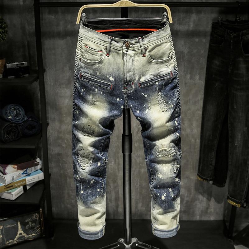 Skinny Jeans Men Ripped Spijkerbroeken Heren Jean Homme Pantalon Spijkerbroeken Heren Pants Streetwear Biker Hiphop Trousers