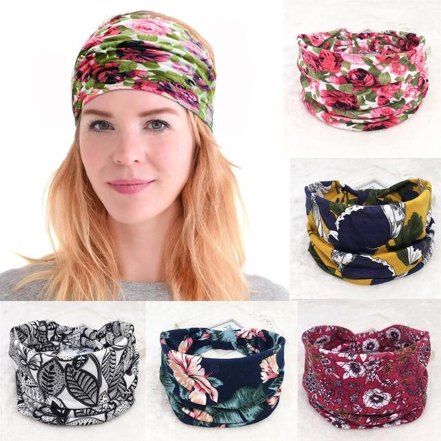 Bohemian Big Wide Cotton Headband for Women Hair Accessories Korean Soft Elastic Head Band Girl Sport Turban Hairbands