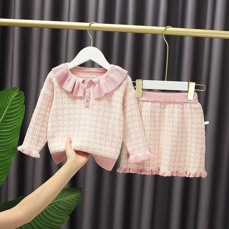 Baby Girl's Sweet Plaid Long Sleeve Sweater + Skirt Set Autumn Cute Woolen Skirt suit Kids