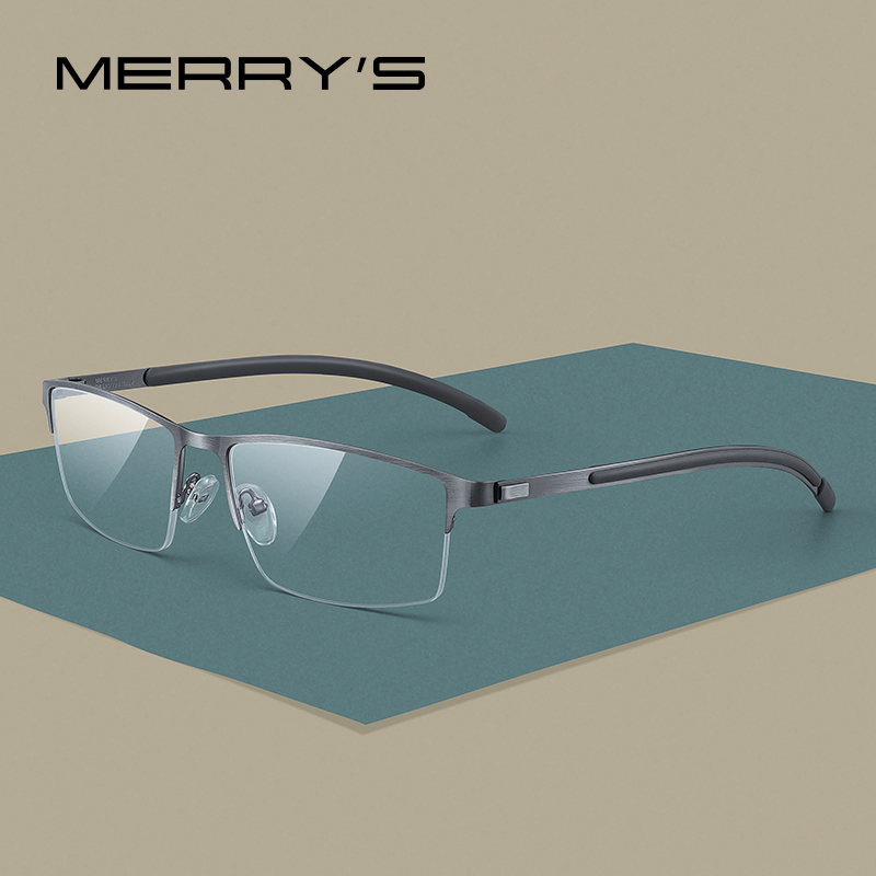 MERRYS DESIGN Men Titanium Alloy Glasses Frame Half Optical Frame Myopia Prescription Optical Eyewear Alloy Rubber Temples S2158