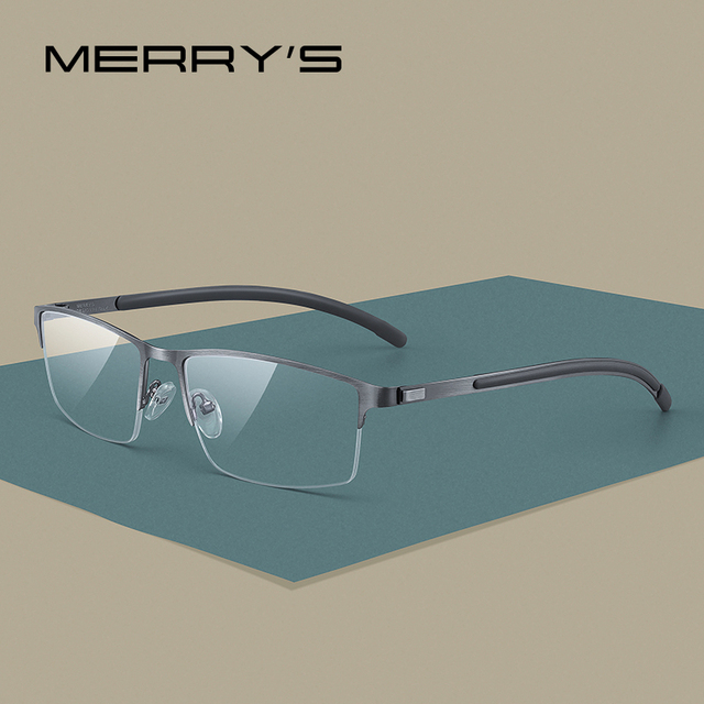 MERRYS DESIGN Men Titanium Alloy Glasses Frame Half Optical Frame Myopia Prescription Optical Eyewear Alloy Rubber Temples S2158
