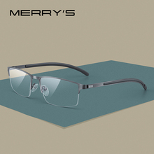 Merrys armação de titânio de óculos para homens, armação unissex de liga de titânio, meia armação ótica para prescrição de miopia, temperos de borracha s2158