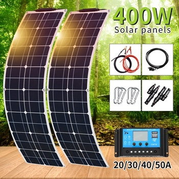 цена на New 400W 2x 200W PET Flexible Solar Panel Portable Mono Solar Battery Charger with 12V/24V Controller for Car Yacht Battery Boat