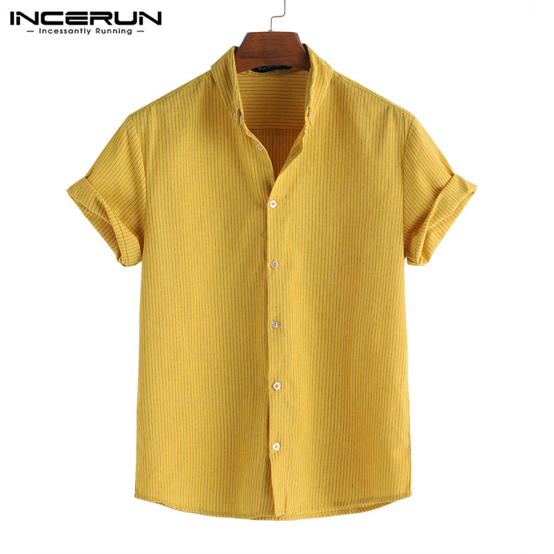 INCERUN Striped Short Sleeve Men Shirt Summer Lapel Neck 2020 Casual Loose Breathable Fashion Camisa Masculina Brand Shirt S-5XL