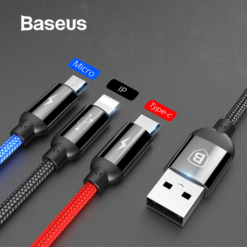 Baseus 3 in 1 USB Cable Moblie Phone Type C for Samsung S9 Charging Cable for iPhone XS XS MAX 8 Micro USB Charger Wire Cord-in Mobile Phone Cables from Cellphones & Telecommunications on AliExpress