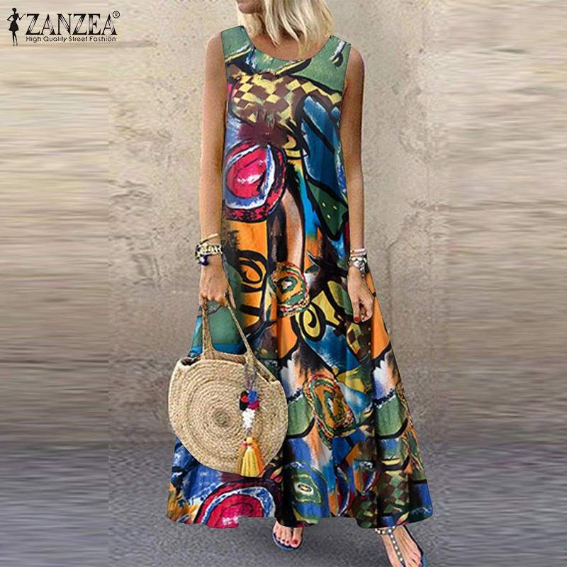 ZANZEA Women Bohemian Sleeveless Floral Printed Sundress Summer Dress Robe Vintage Kaftan Beach Vestido Femme Sarafans Plus Size