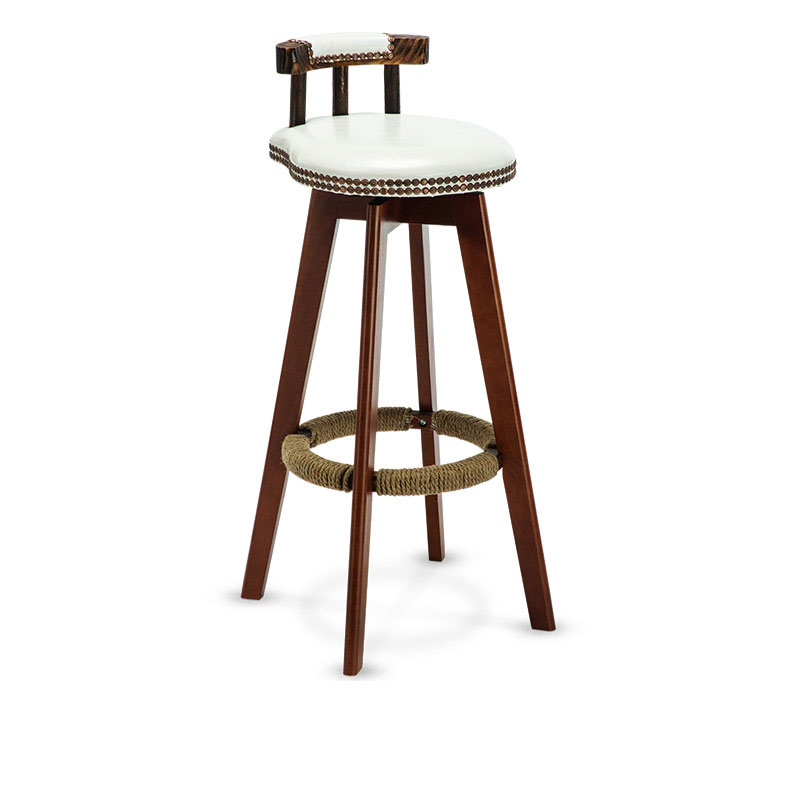 Solid Wood High Stool Bar Chair 74cm Seat Height With Backrest