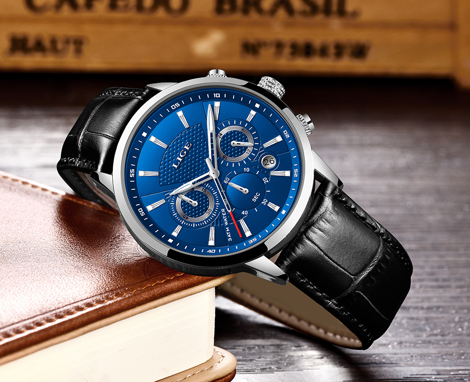 Hef5f9ca7bf1444168598e0327db6aad4F LIGE New Men Watch Top Brand Blue Leather Chronograph Waterproof Sport Automatic Date Quartz Watches For Mens Relogio Masculino