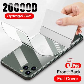 3 sztuk pełna pokrywa hydrożel Film dla iPhone 12 11 Pro XS Max SE 2020 folia na wyświetlacz dla iPhone 7 8 6 6s Plus X XR przednia tylna folia tanie i dobre opinie LUXMEVE Hd filmu Jasne Anti-Blue-ray CN (pochodzenie) APPLE Hydrogel Film For iPhone 12 12 Mini 12 Pro 12 Pro Max Front+Back Hydrogel Film