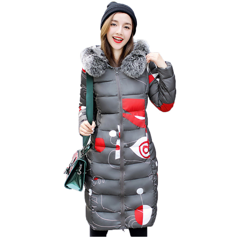 Women's Parkas Winter Cotton Clothing Female Slim Long Coats Fox Fur Collar Hooded Down Jacket Double-sided Wearable Clothing
