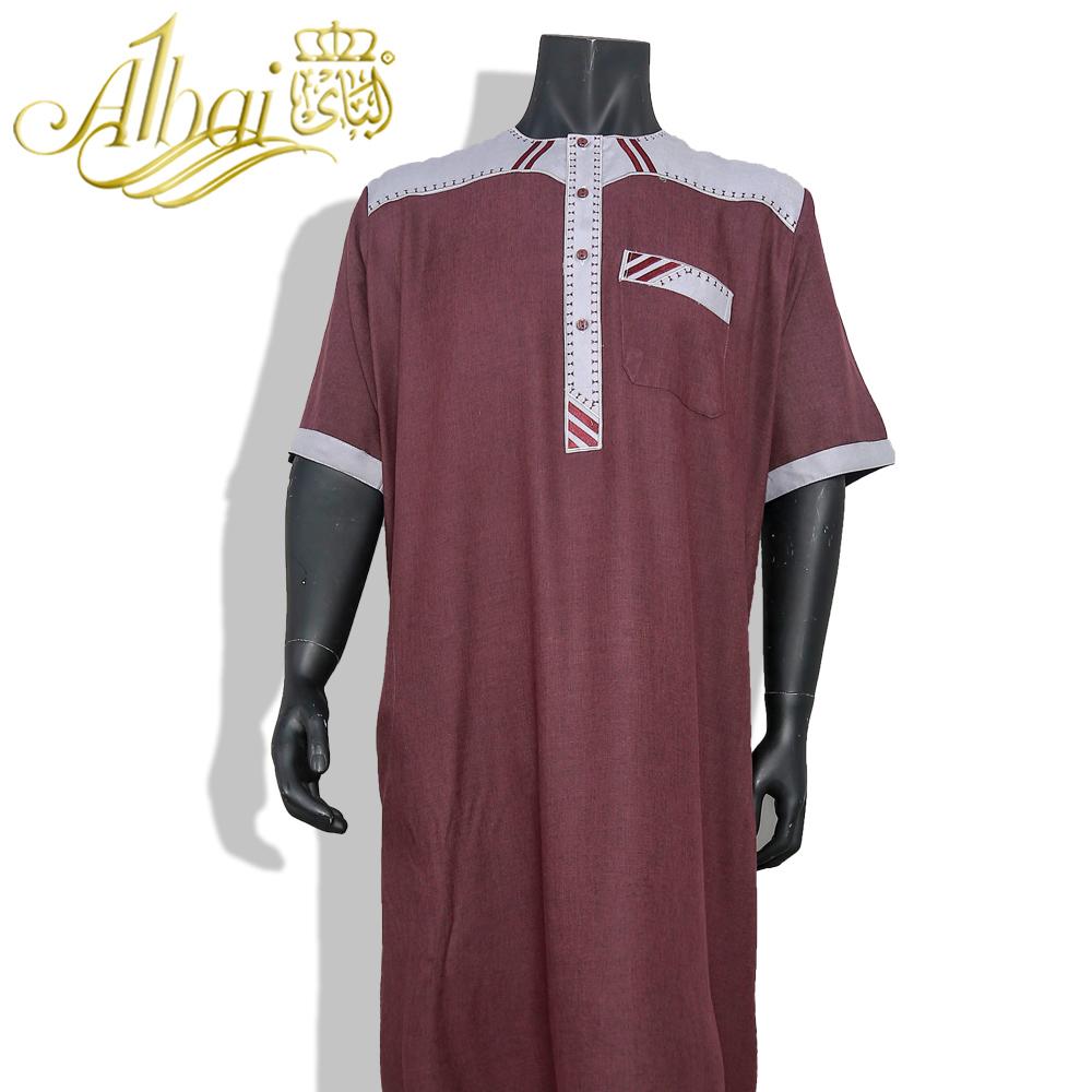 Fashion Muslim Clothing Jubba /  Short Sleeve Saudi Arab Thobe /Men's Vintage Short Sleeve Robe Kaftan