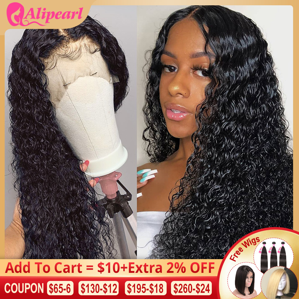 Curly 360 Lace Front Human Hair Wigs For Black Women Pre Plucked Brazilian Lace Wigs 150% 180% 250% Density Remy AliPearl Hair