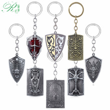 RJ New 8 style Game Dark Souls Shield Keychain Dragon Slayer Weapon Metal Keyring Golden Wing Crest Shield Llavero Men Jewelry