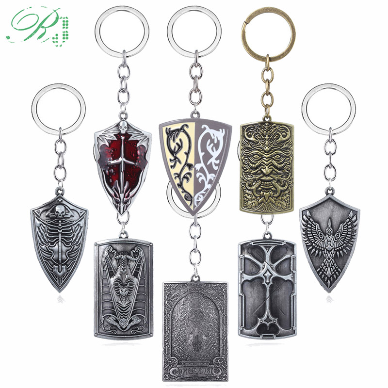 RJ New 8 style Game Dark Souls Shield Keychain Dragon Slayer Weapon Metal Keyring Golden Wing Crest Shield Llavero Men Jewelry image