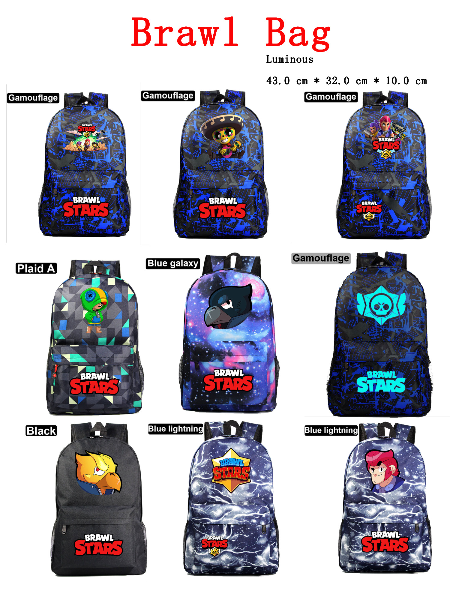Brawling Game Stars Schoolbag Luminous Student School Backpack Waterproof Bagpack Primary School Book Bags For Teenage Girl Kids