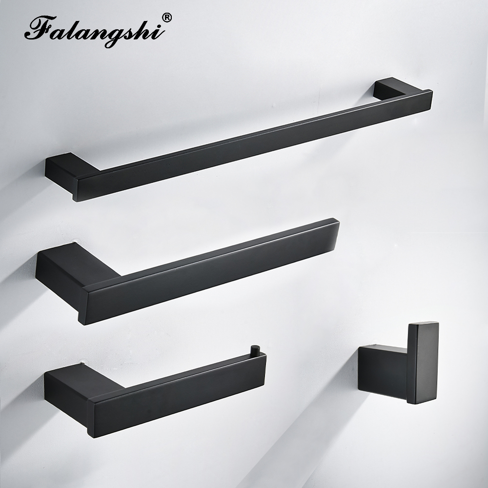 High Quality Bathroom Hardware Set 304 Stainless Steel Robe Hook Paper Holder Towel Bar Matte Black Screwed Wall Mounted WB8850