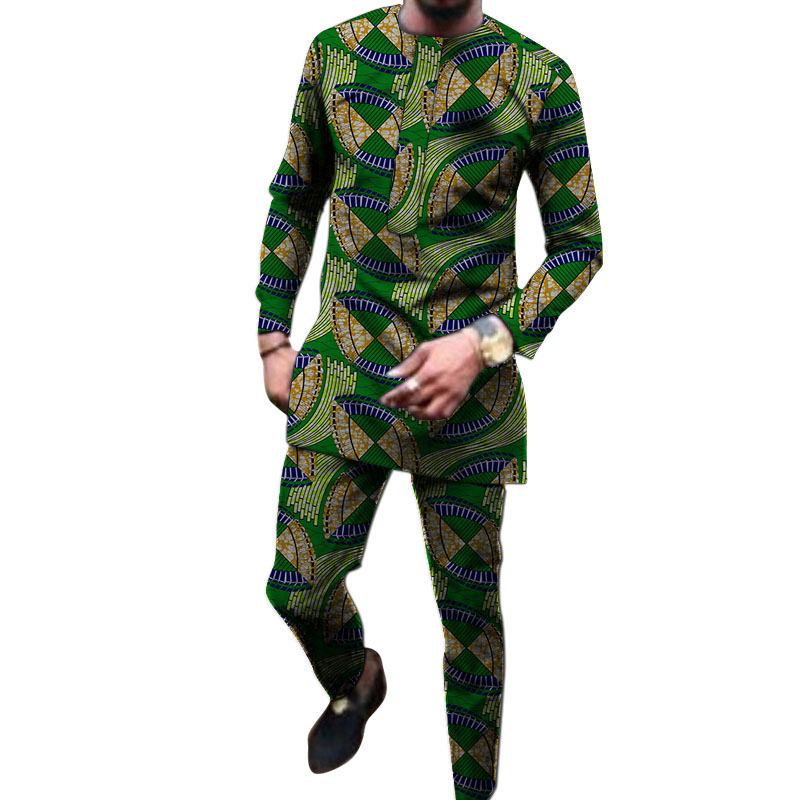 African Print O-neck Shirts With Trousers Custom Made Pant Sets Fashion Male Groom Suits Dashiki Outfits Party Clothes
