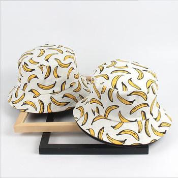 Gorąca sprzedaż kobiet banan 3D drukuj kapelusz typu Bucket Hip Hop rybak Cap letni mężczyzna wysokiej jakości Unisex Panama wędkowanie plaża Sunbonnet tanie i dobre opinie COTTON Dla dorosłych Mieszkanie BS2002772 Wiadro kapelusze Nowość