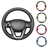 Black Artificial Leather Car Steering Wheel Cover Hand stitched DIY for Kia K5 2011 2012 2013 Kia Optima