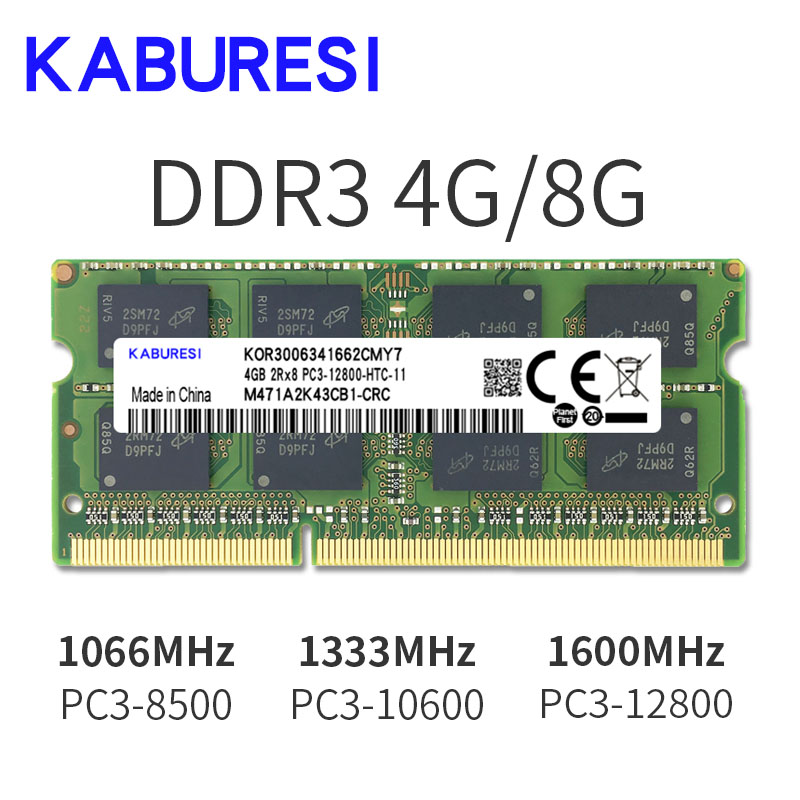 kaburesi <font><b>DDR3</b></font> 2GB 4GB <font><b>1066MHz</b></font> PC3-8500 for laptop memoria Ram Notebook Memory sodimm 1.5V image