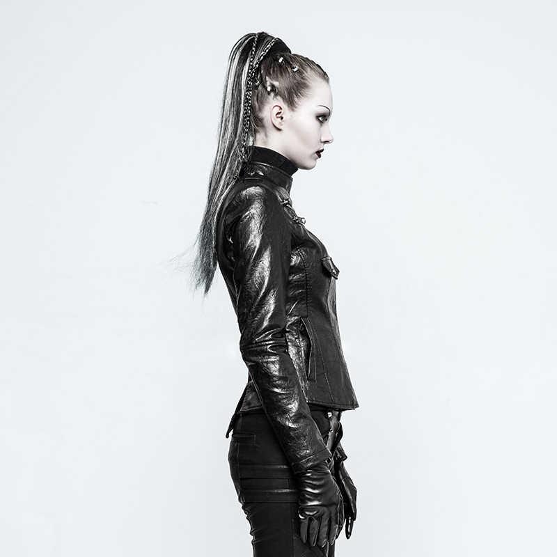 Женская готическая Красивая мотоциклетная куртка PUNKRAVE, ветрозащитная короткая куртка из искусственной кожи