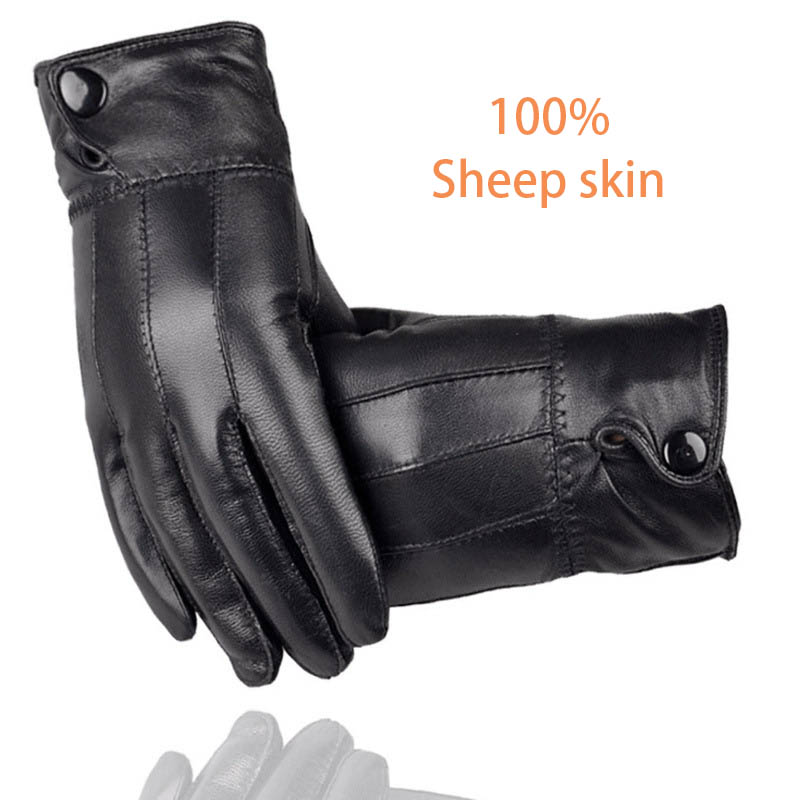 2020 Winter Men Black Leather Gloves Anti-skid Touch Screen Outdoor Driving Warm Windproof Waterproof Motorcycle Driving Gloves