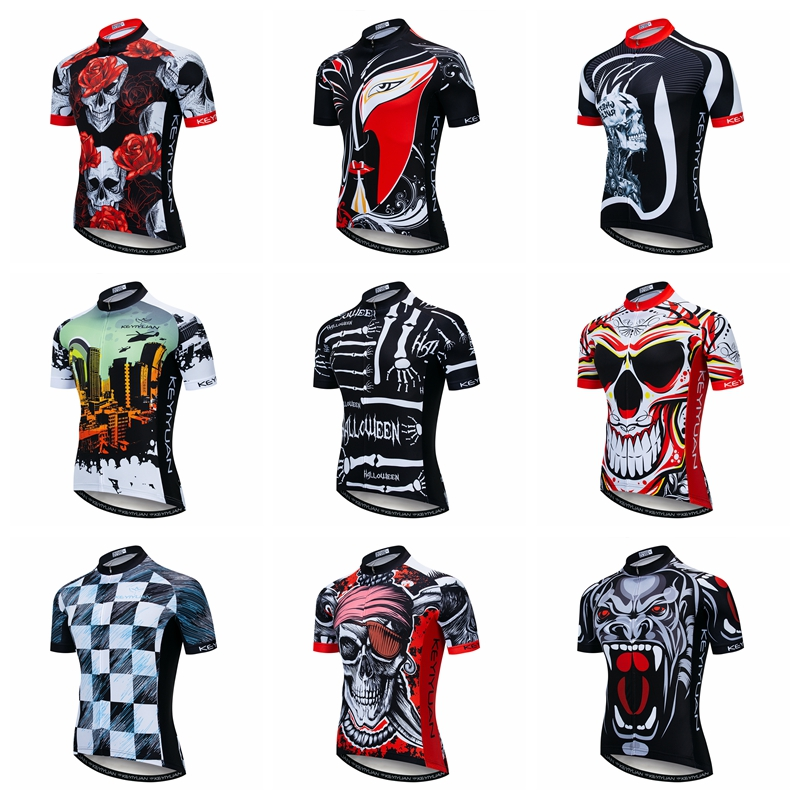 Skull Bike Shirt Summer Men Cycling Jersey Breathable Bicycle Mtb Jersey Maillot Ciclismo Quick Dry Cycling Clothing Red Rose