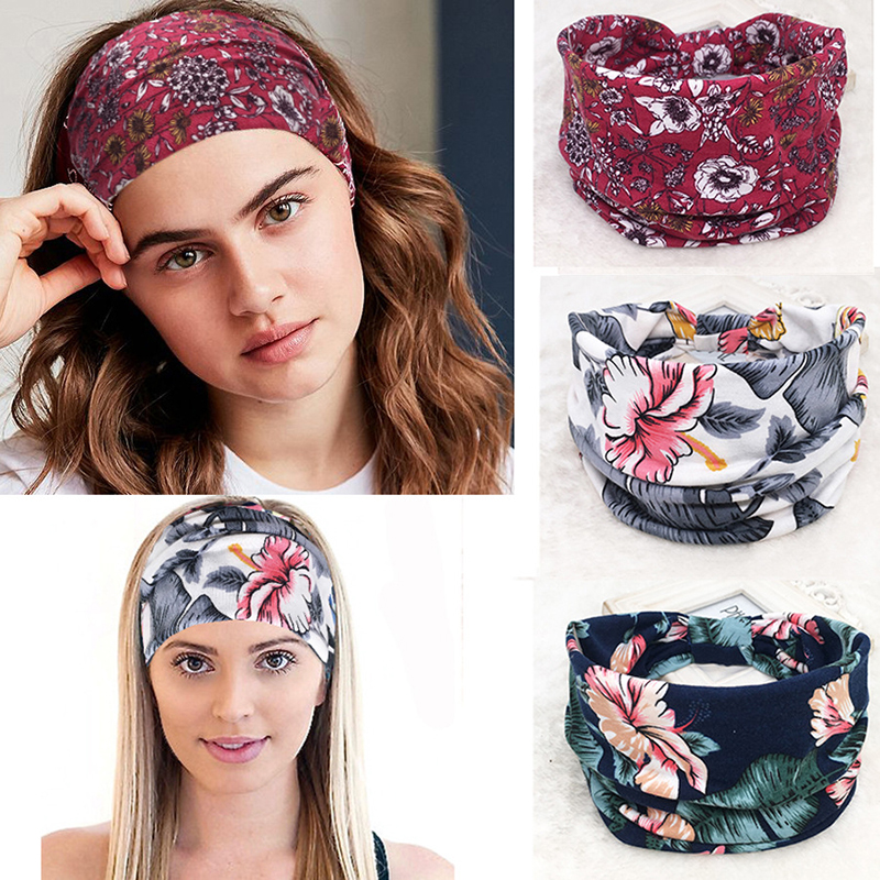 Boho Wide Cotton Stretch Headband Turban Headwear Elastic Headbands For Women Floral Print Head Band Bandage Hair Bands Bandana