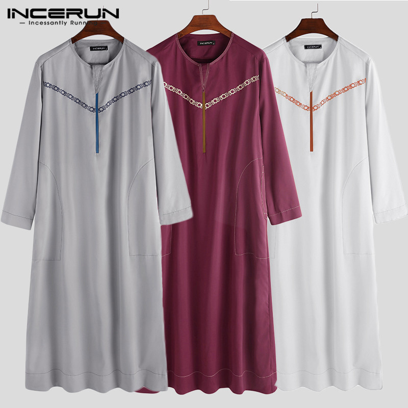 INCERUN Muslim Clothing Men Islamic Arabic Kaftan Fashion Round Neck Long Sleeve Printed Robes Loose Men Jubba Thobe Abaya S-5XL