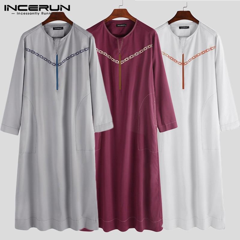 INCERUN Muslim Clothing Men Islamic Arabic Kaftan Fashion Round Neck Long Sleeve Printed Robes Loose Men Jubba Thobe Abaya S-5XL