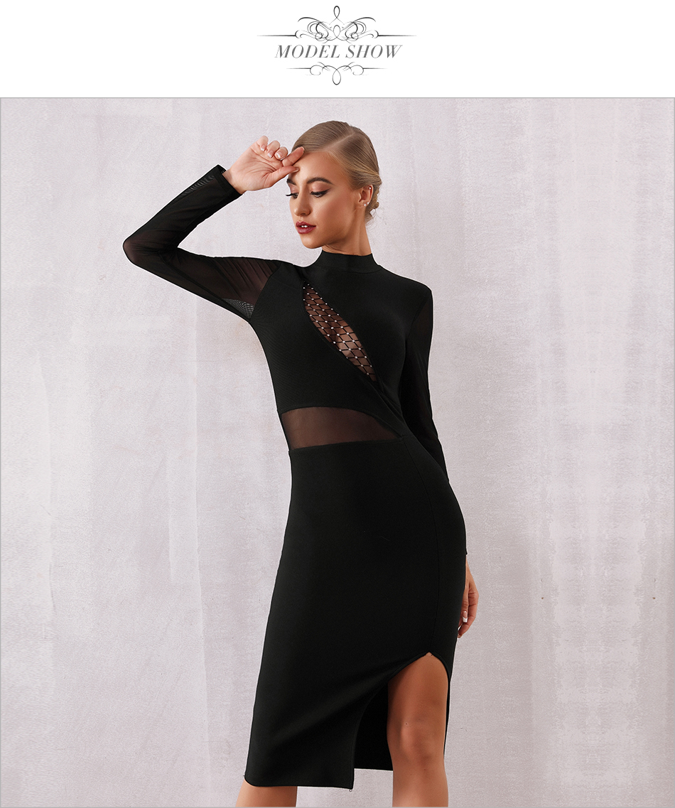 O-neck Long Sleeve Hollow Out Bandage Black Dress