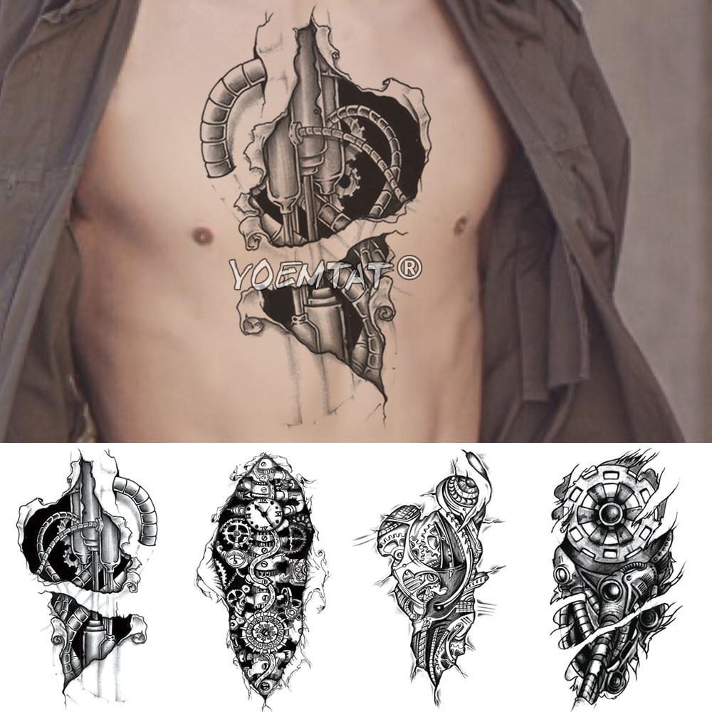 Electricity Metal Mechanical Arm Temporary Tattoo Sticker 3D Bionic Gear Waterproof Tatto Robot Body Art Fake Tatoo Men Women