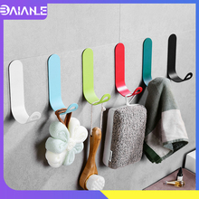 Robe Hook Black Bathroom Hook for Towels Key Bag Hat Clothes Hanger Wall Mounted Candy Color Coat Hook Rack Bathroom Accessories robe hook black clothes coat hook wall hanger decorative deer head bathroom hook for towels key bag hat rack bathroom hardware