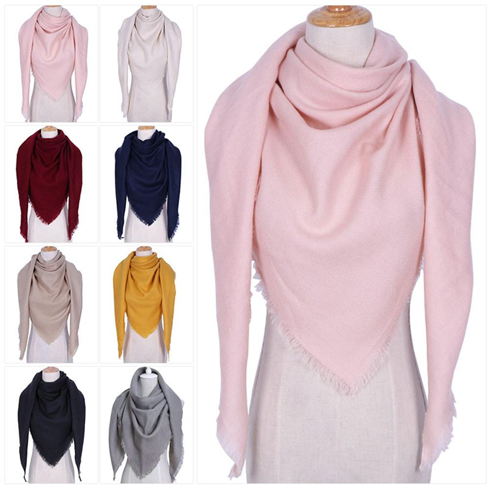 2019 Knitted Autumn Winter Women Scarf Plaid Warm Cashmere Scarves Shawls Luxury Brand Neck Bandana Lady Wrap