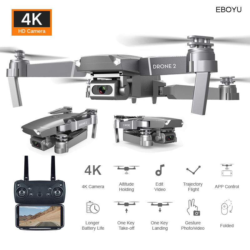 EBOYU E68 2.4Ghz RC Drone Wifi FPV 4K/1080P HD Camera Altitude Hold One Key Return/Landing /Off Headless RC Quadcopter Drone Toy