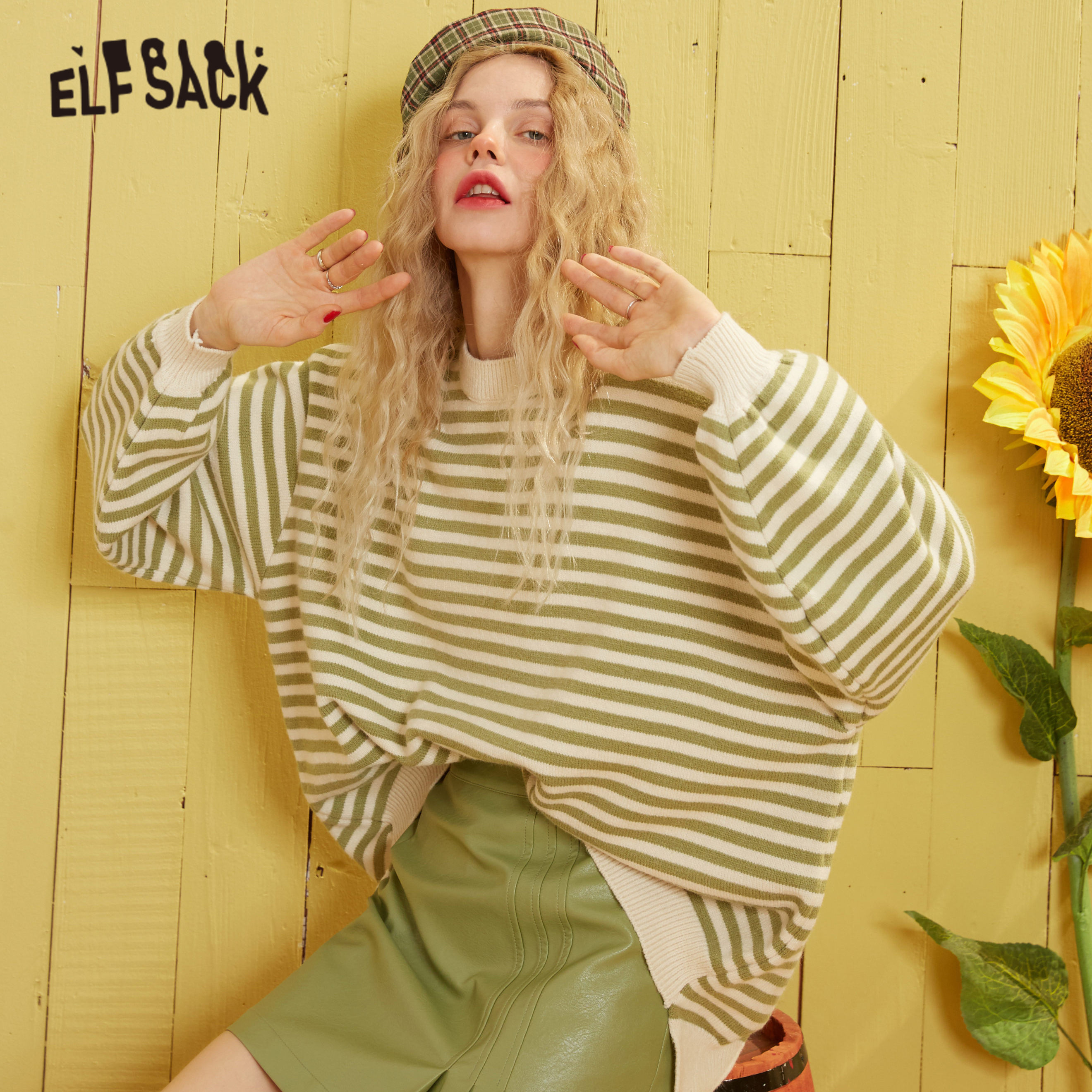ELFSACK Green Striped High Low Knit Casual Pullover Sweater Women 2020 Spring Red Korean Lantern Sleeve Soft Ladies Basic Top