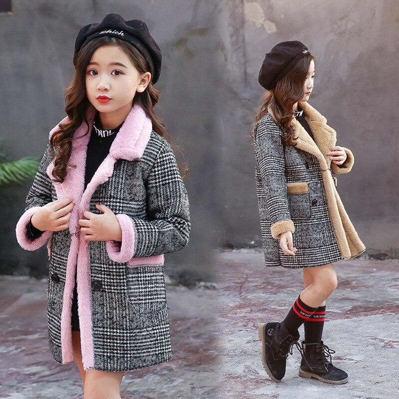 Girls Suede Coat Girls Long Warm Plaid Woolen Coat Heavy Weiht Kids Plus Velvet Thicken Overcoat Child Wadded Jacket-in Jackets & Coats from Mother & Kids