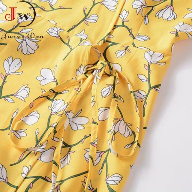 2021 Summer Elegant Short Sleeve Chiffon Dress Women Floral Printing Vintage A-Line Bohemian Beach Midi Sundress Plus Size 5
